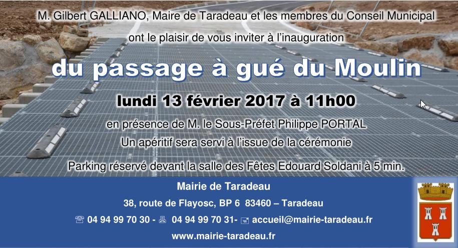 Inauguration Officielle Du Gue Du Moulin Mairie De Taradeau
