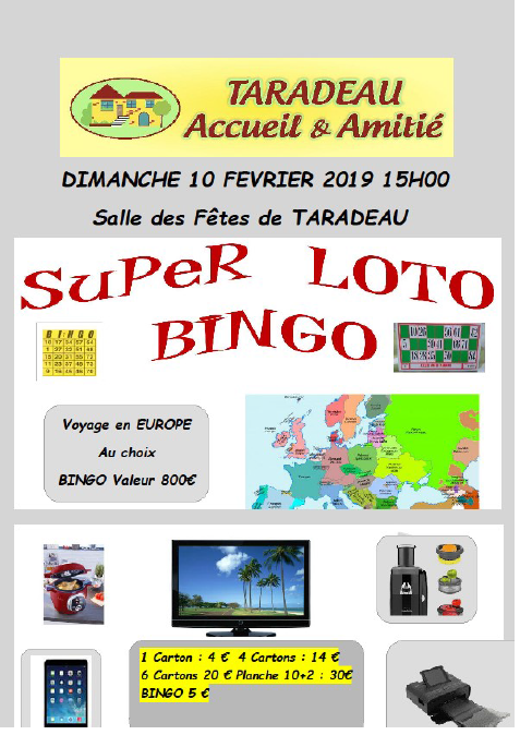 super loto bingo dimanche 10 f vrier mairie de taradeau. Black Bedroom Furniture Sets. Home Design Ideas